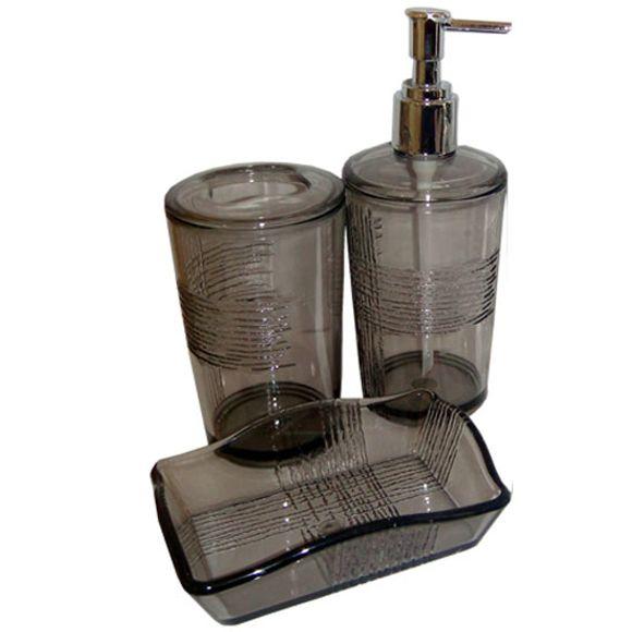 Kit De Banheiro Com 3 Peças 69,9X0,4X0,4 Fumê Sanxia
