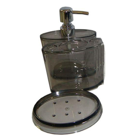 Kit De Banheiro Com 3 Peças 69,9X0,5X0,5 Fumê Sanxia