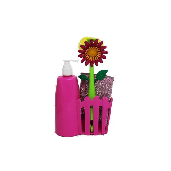 Kit Escova E Dispenser 61036 Rosa Basic Kitchen