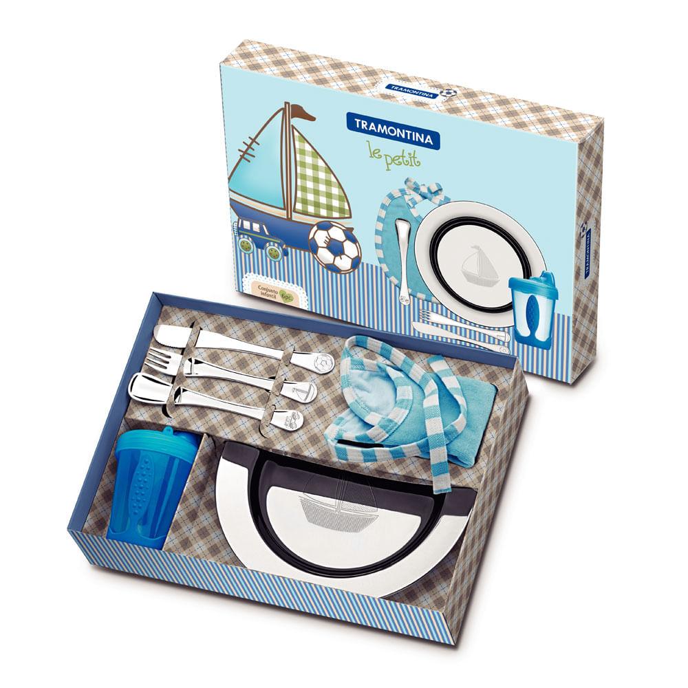 Jogo De Aço Inox Para Criança 6 Peças Le Petit Azul 64250640 Tramontina