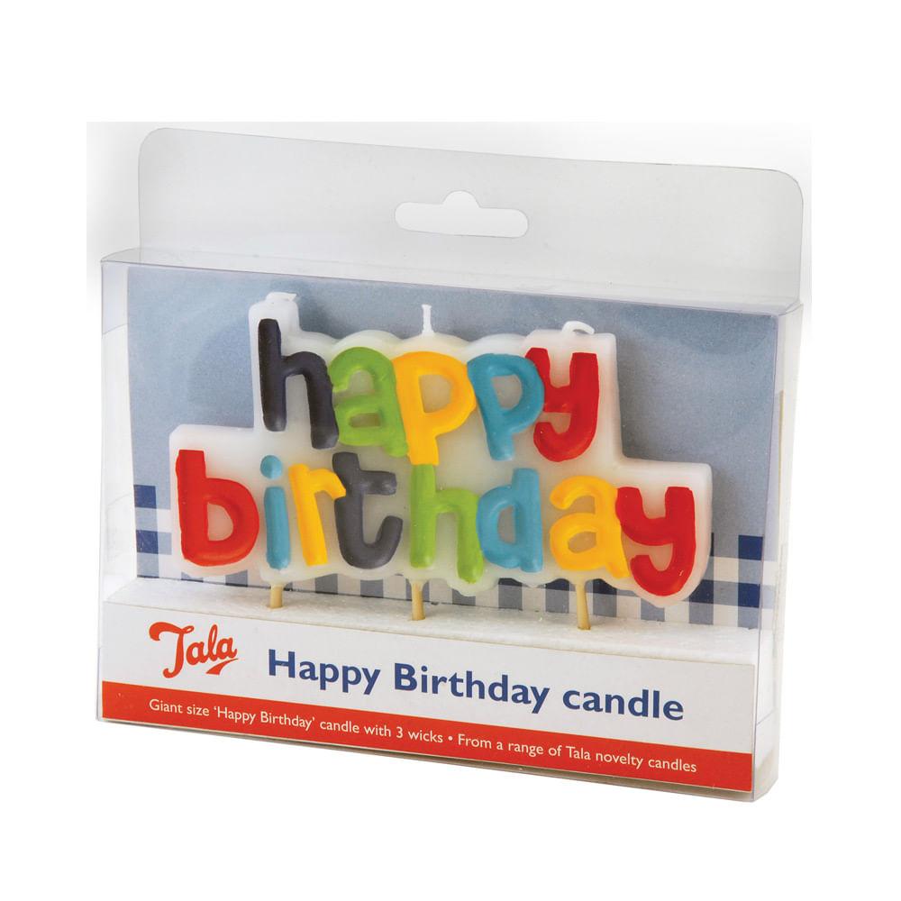 Vela Happy Birthday Colorida Tala