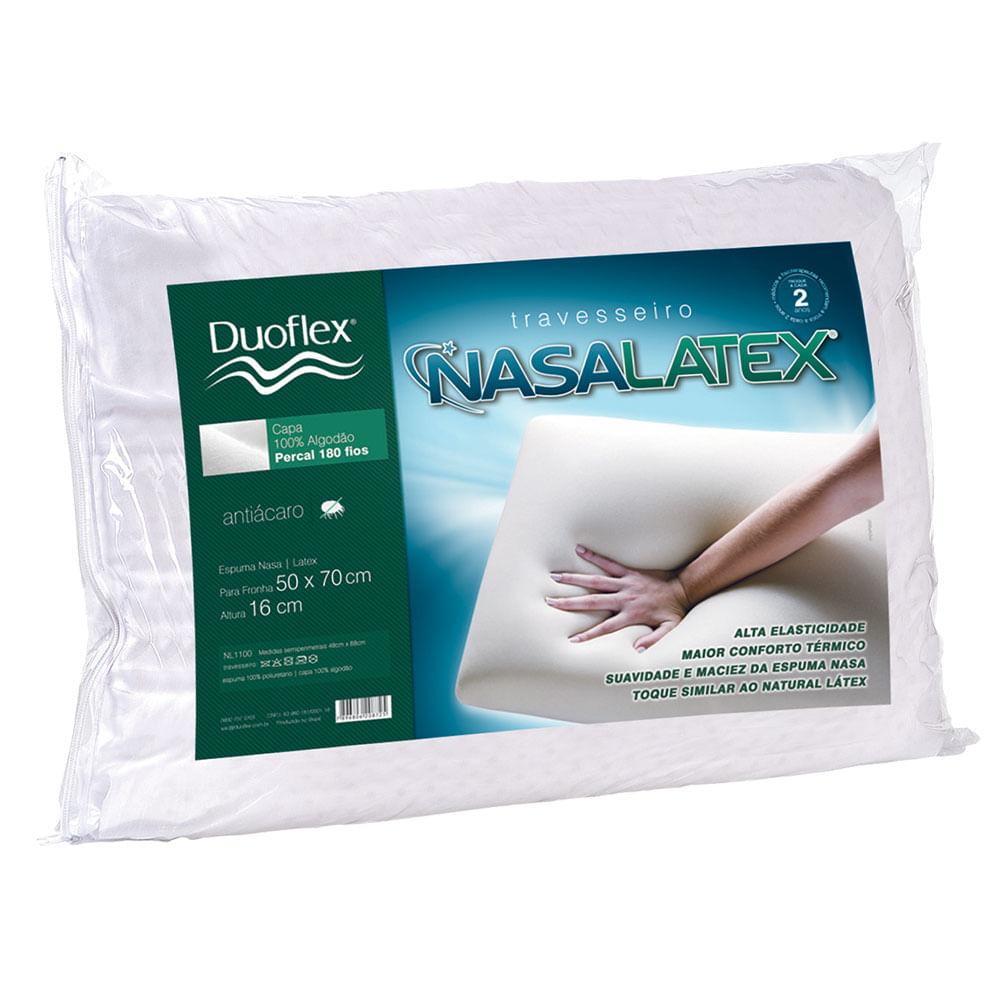 Travesseiro Anti Ácaro 48X68Cm Duoflex Nasalátex Nl1100