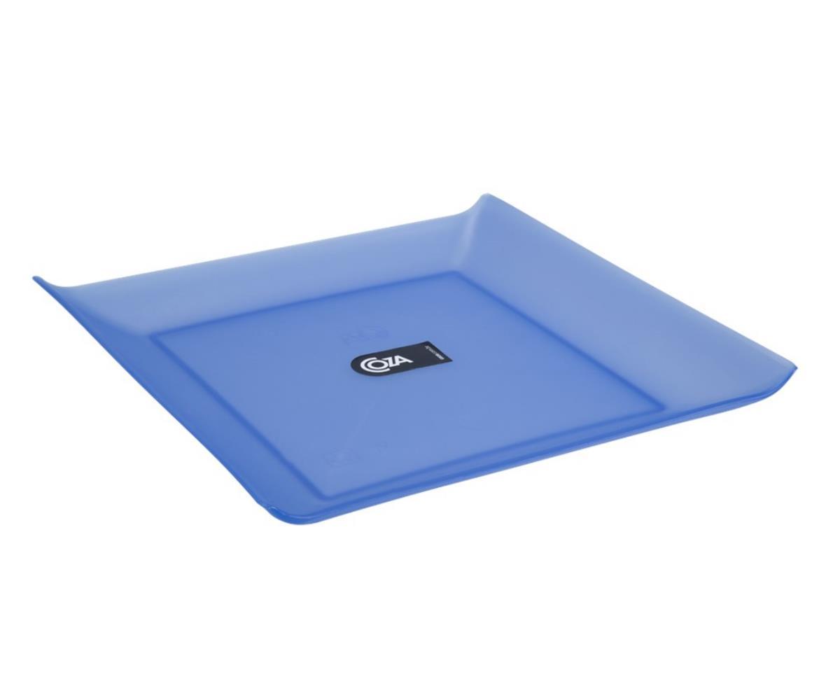 Prato Quadrado Grande 20.6X20.6X2.6 Cm Azul Coza