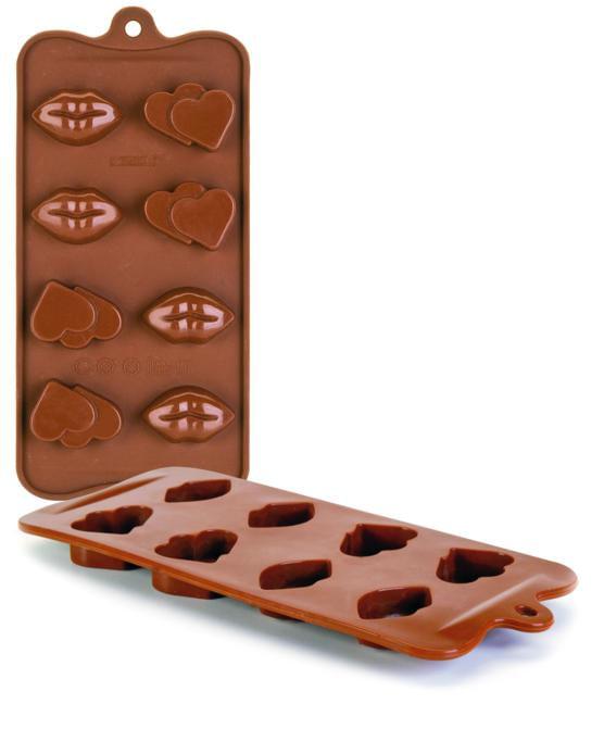Molde Chocolates Silicone Chocolate Bocas E Corações Ibili
