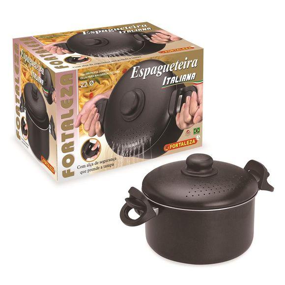 Espagueteira-22Cm-Italia-Black-Aluminio-Fortaleza
