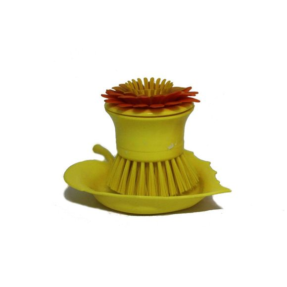 Escova-Para-Louca-Flor-Amarelo-Basic-Kitchen