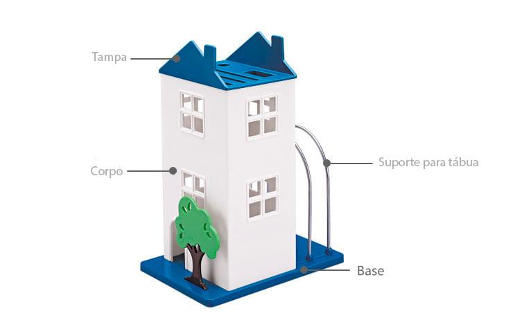 Porta Facas E Tabuas De Corte B932 Azul Basic Kitchen