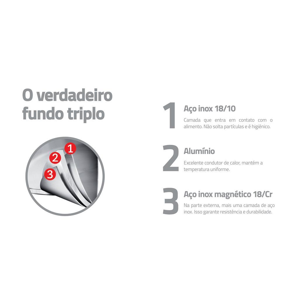 Caçarola Funda Aço Inox 20Cm Rotonda Ceramic 62464200 Tramontina