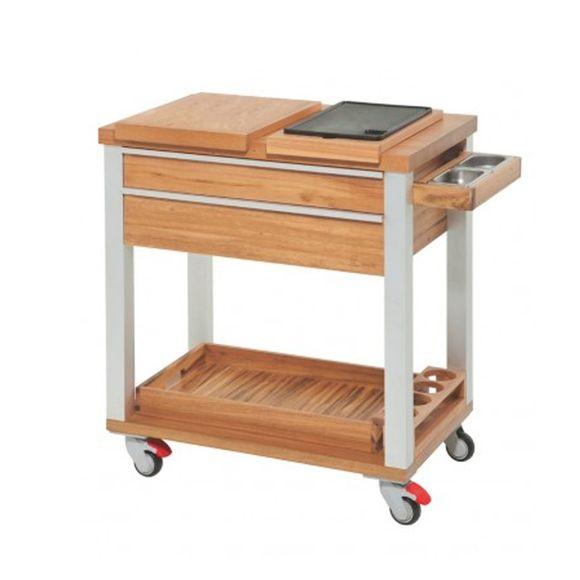 Carro-para-servir-de-madeira-e-aluminio-com-Grill-Churrasco-Tramontina