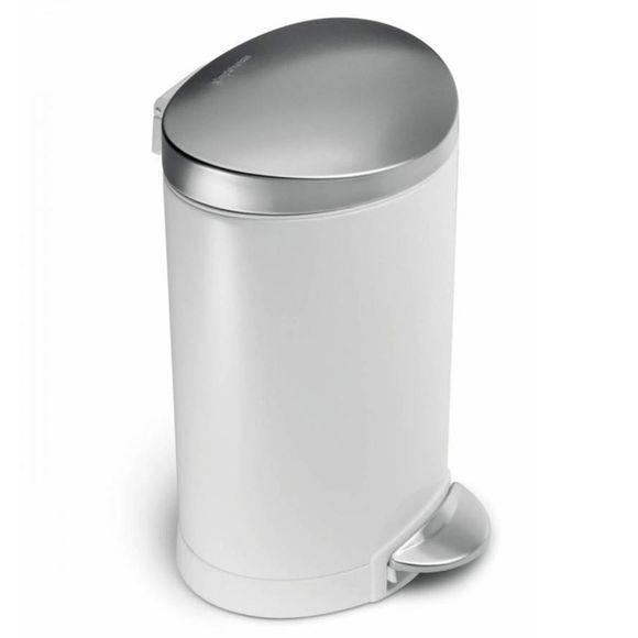 Lixeira-Semi-Round-branca-e-tampa-aco-inox-6l-Simple-Human---SH154BR