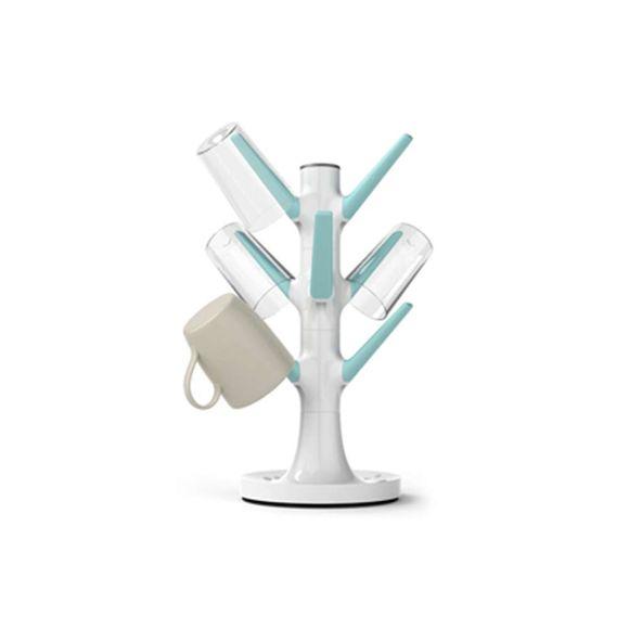 Escorredor-De-Copos-Tree-Branco---Azul-Siliconezone