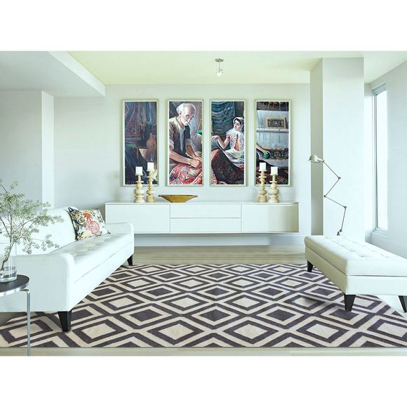 tapete indiano kilim geo desenho 2 cinza bege tapetesdoural. Black Bedroom Furniture Sets. Home Design Ideas