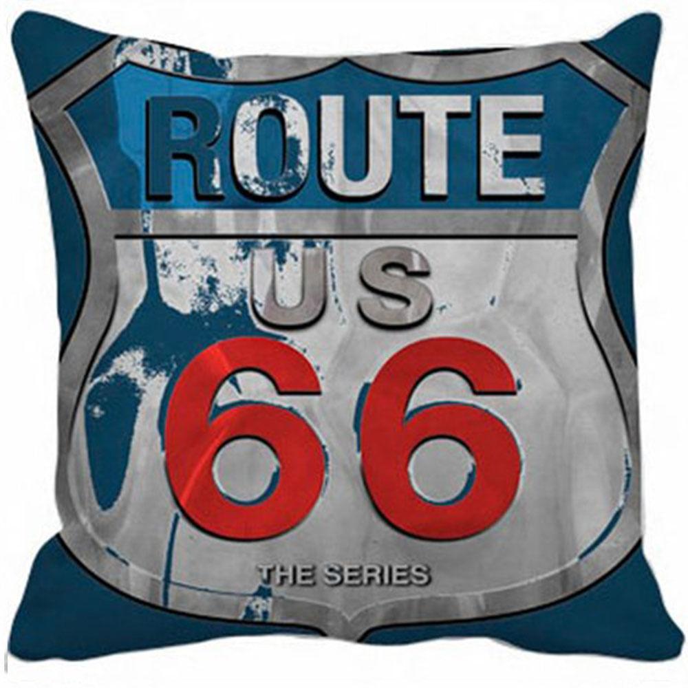 Capa Almofada Route 66 Azul - 40X40Cm