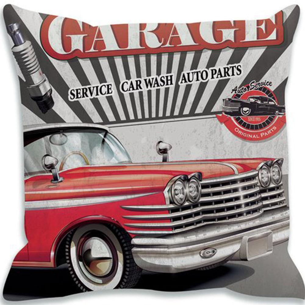 Capa Almofada Garage Service Car - 40X40Cm