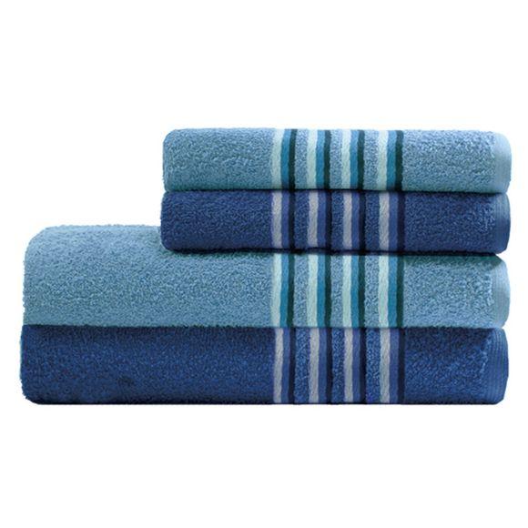 Jogo De Banho Aurora Com 4 Peças Azul Claro/Azul Escuro Camesa
