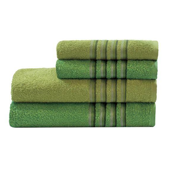 Jogo De Banho Aurora Com 4 Peças Verde Claro/Verde Escuro Camesa