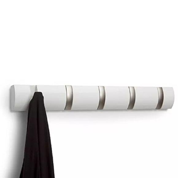 Cabideiro-De-Parede-Flip-5-Branco-Umbra