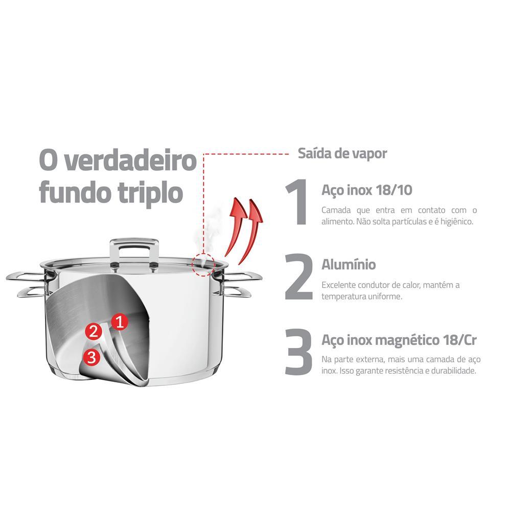 Jogo Cozi-Pasta 2 Peças Aço Inox 4,6L Brava 65400410 Tramontina