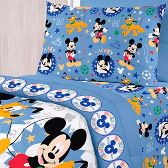 Jogo-de-Cama-Solteiro-Mickey-Happy-Azul-Santista
