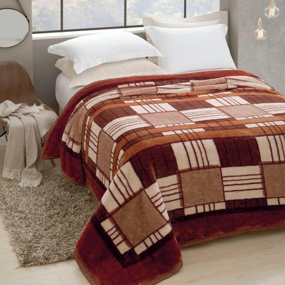 d06d1b6e2a Cobertor Tradicional Plus Pelo Alto 1.80 x 2.20m Invernes Vinho - Doural