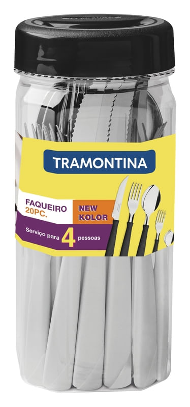 Faqueiro Inox 20 Peças New Kolor Branco 23198887 Tramontina