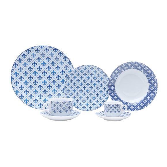 Aparelho de Jantar Porcelana 42pçs Flor de Liz Lyor
