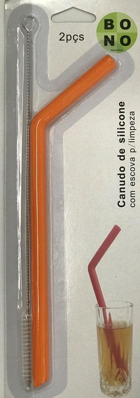 Canudo De Silicone Laranja Com Escova