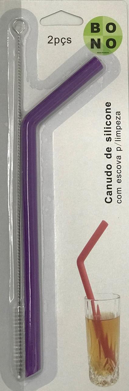 Canudo De Silicone Roxo Com Escova