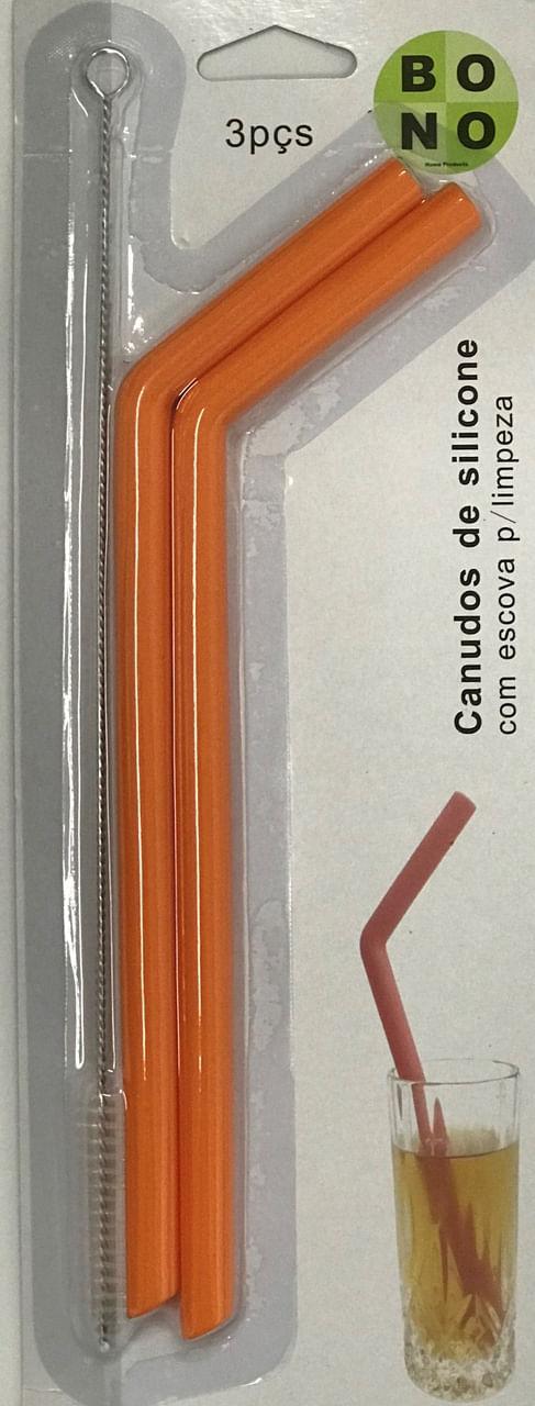 Kit 2 Canudo De Silicone Laranja Com Escova