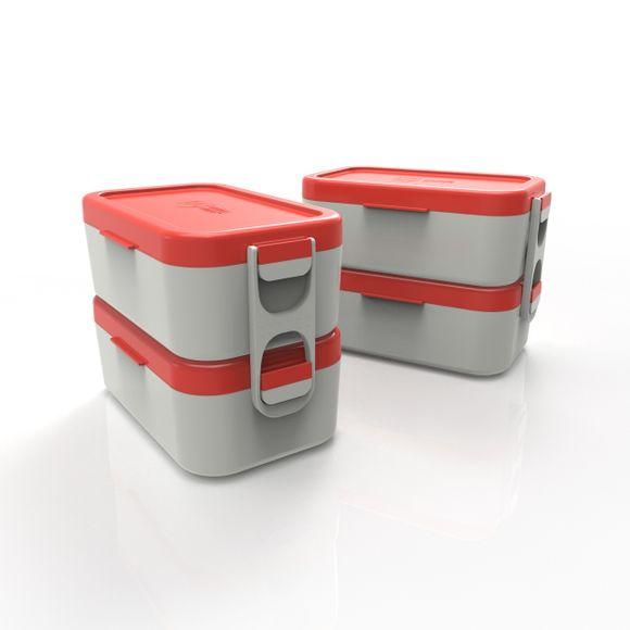 Bento-Box-Dupla-Cinza-Com-Tampa-Vermelho--Anodilar