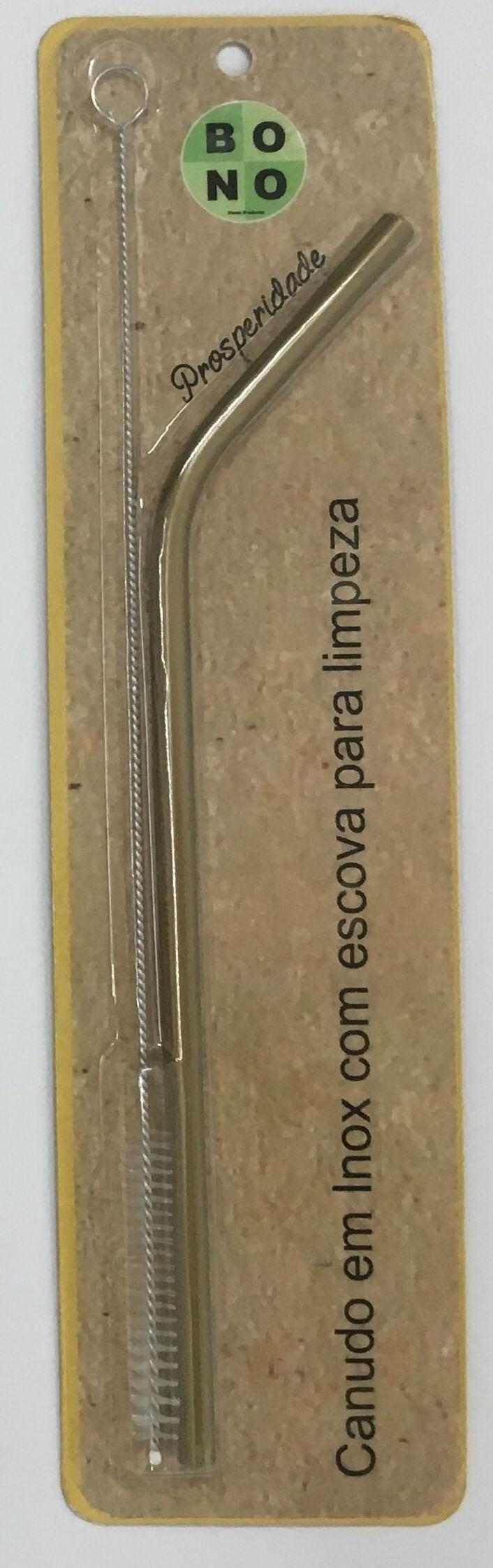 Canudo Dourado Curvo Em Inox Com Escova 20Cm