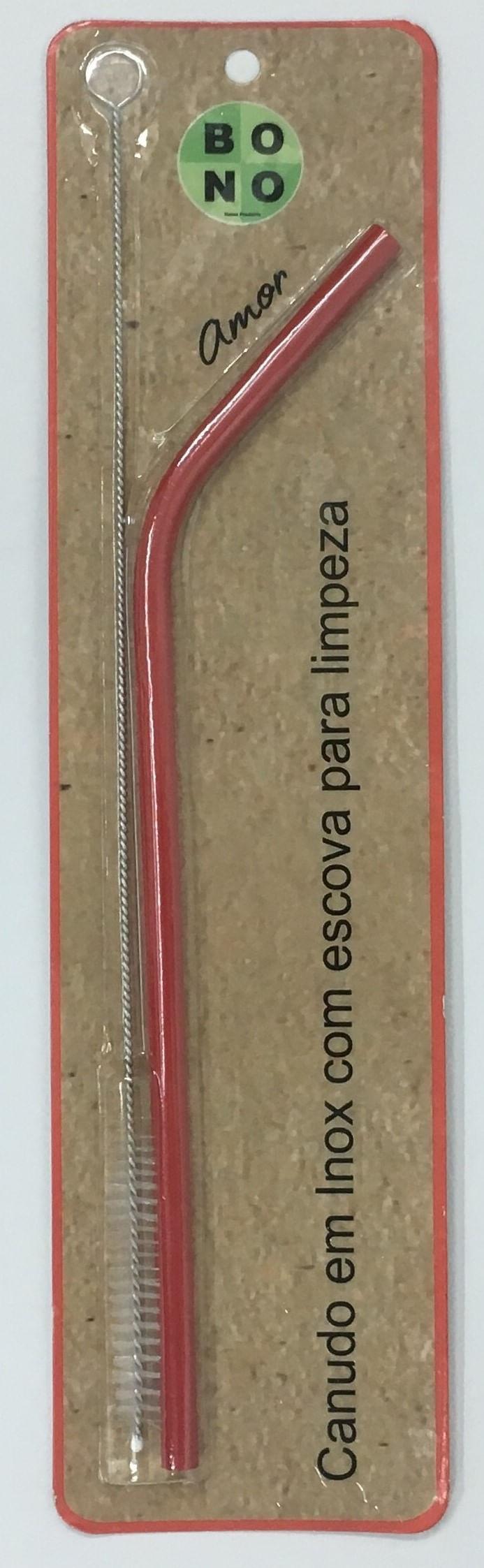 Canudo Vermelho Curvo Em Inox Com Escova 20Cm
