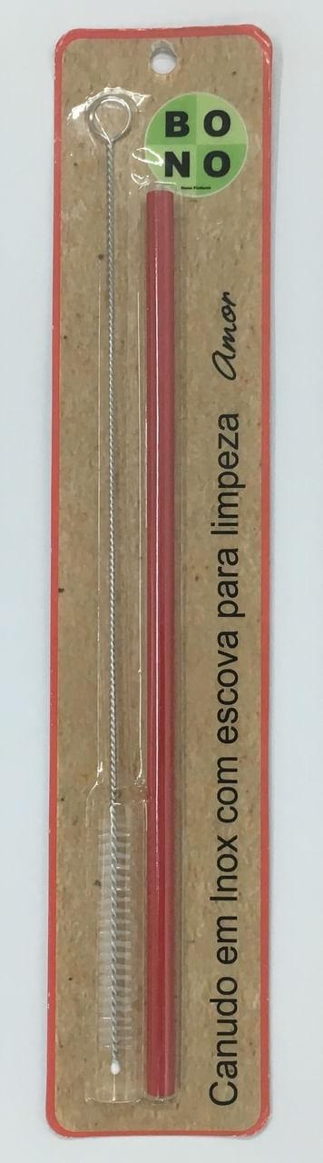 Canudo Vermelho Em Inox Com Escova 20Cm