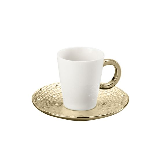 Conjunto 6 Xícaras Para Chá Com Píres Drop Dourada 200ml Lyor