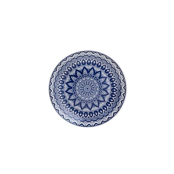 Prato Raso Cerâmica Mandala Azul e Branco 26cm Lyor