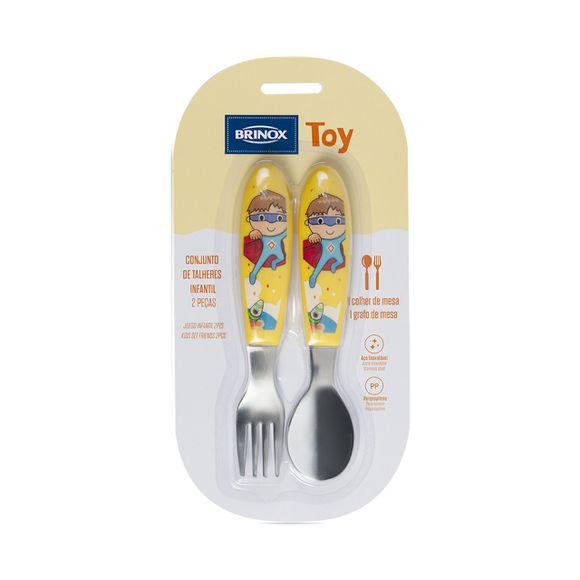 Conjunto-Infantil-2-Pecas-Colher-Garfo-Toy-Amarelo-Brinox