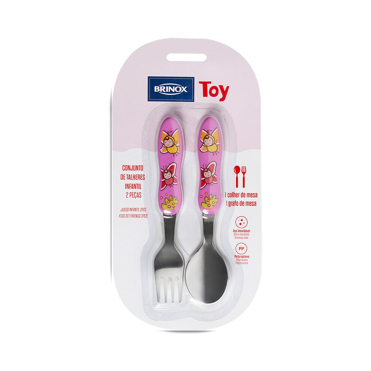 Conjunto Infantil 2 Peças Colher+Garfo Toy Rosa Bor Brinox