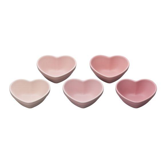 Jogo-5-Pecas-Ramekins-Formato-Coracao-Ceramica-Milky-Pink-Le-Creuset