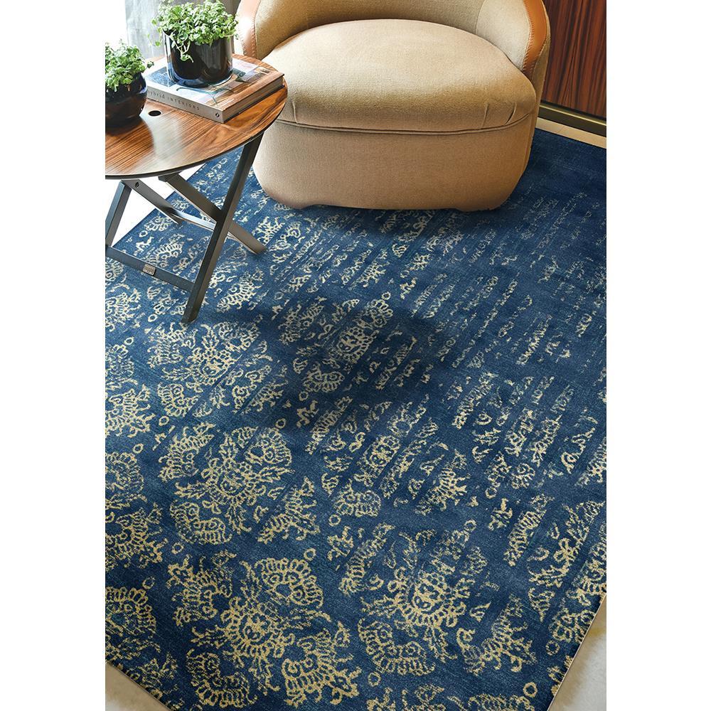 Tapete Belga Vintage 2.80x3.80 89 Azul/Dourado Abdalla