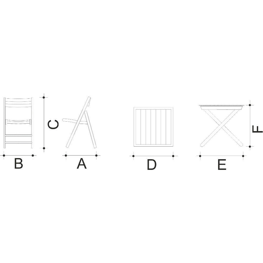 Conjunto Cadeiras e Mesa Dobráveis de Madeira 5 Peças Cor Tabaco 10630002 Tramontina