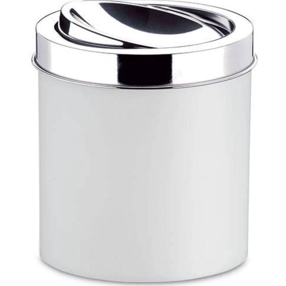 Lixeira Ps Branca Com Tampa Basculante Inox 5.4L