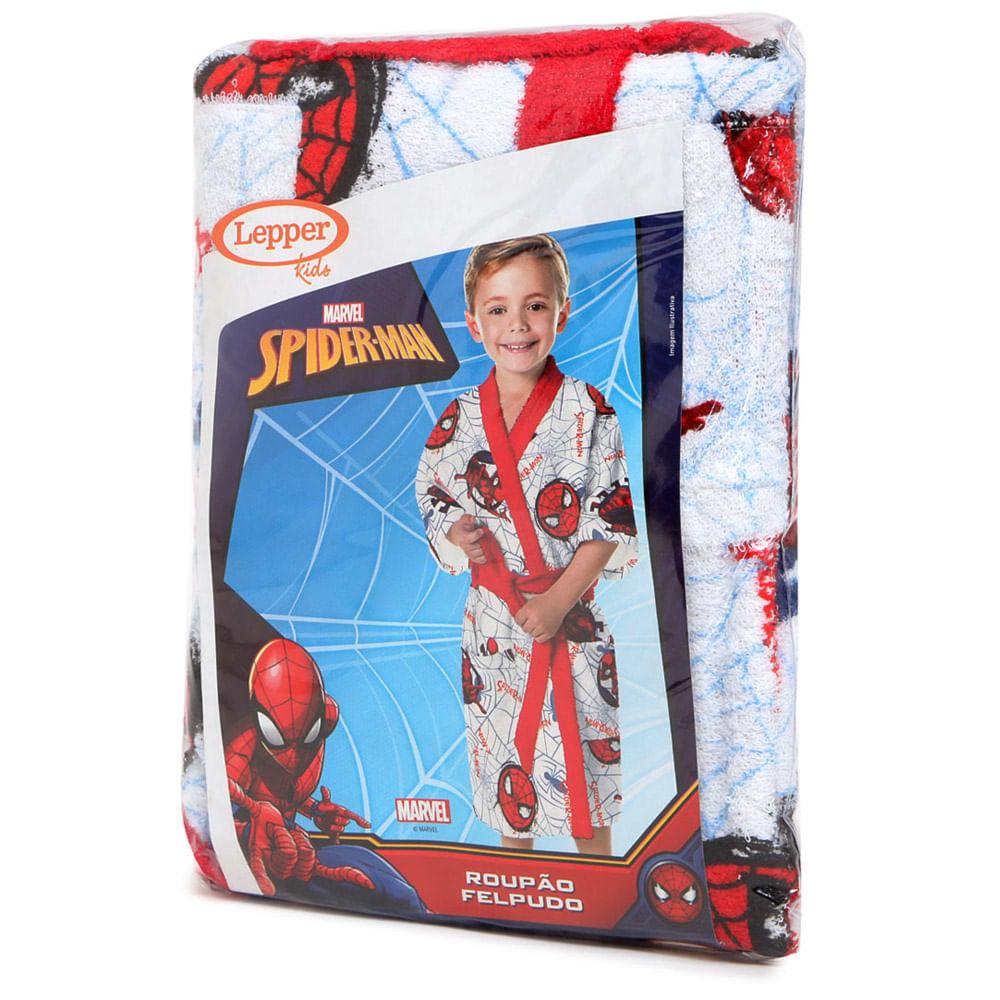 Roupão Felpudo Spider Man Tamanho G 6387701 Lepper