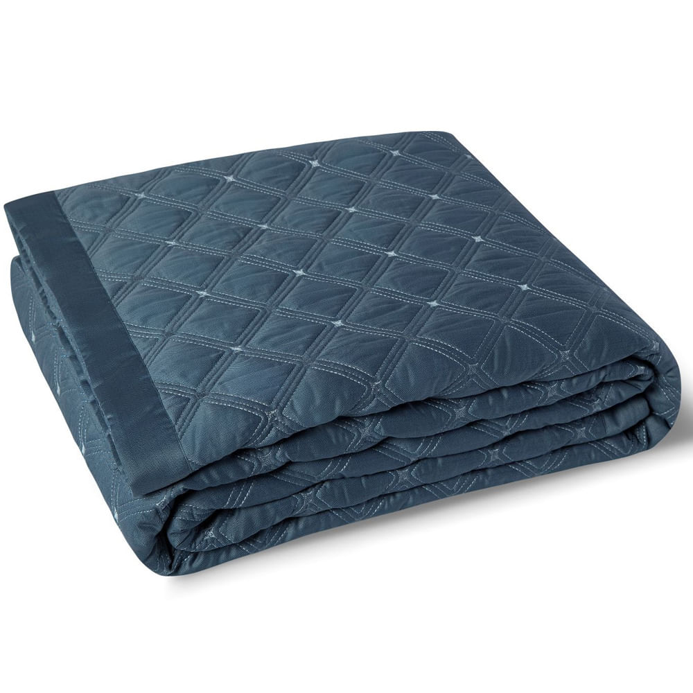 Colcha Queen 2.40X2.60M 59 St Azul By The Bed