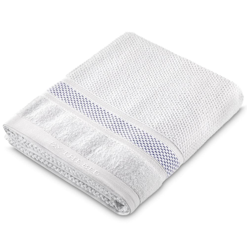 Toalha de Rosto Grand 50x80 Branca com Faixa Azul 700502 By The Bed