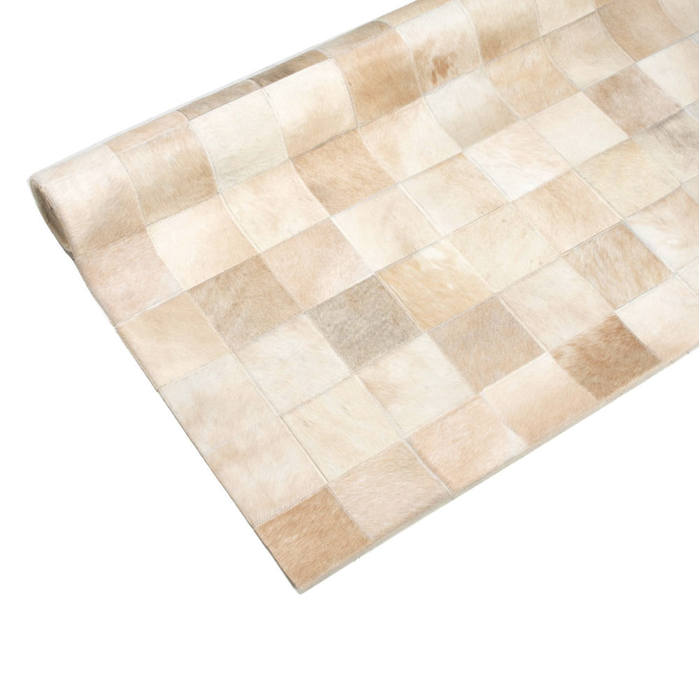 Tapete De Couro Patchwork 150x200 Bege e Branco malhado 3050/40153 Tapecouro