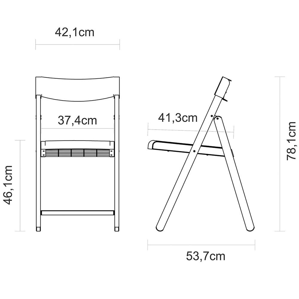 Cadeira Dobrável de Madeira Envernizada Assento de Polipropileno Branco 13791080 Tramontina