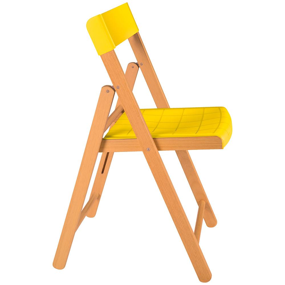 Cadeira Dobrável de Madeira Envernizada Assento de Polipropileno Amarelo 13792080 Tramontina