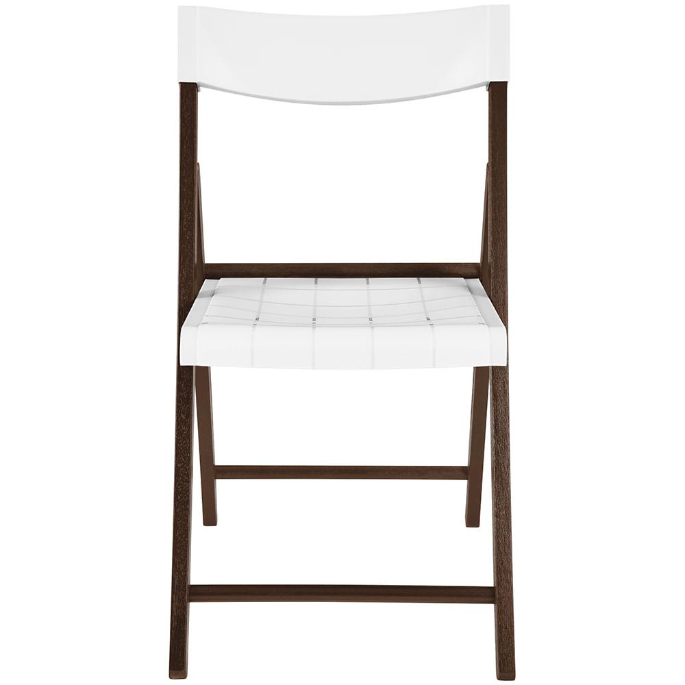 Cadeira Dobrável de Madeira Cor Tabaco Assento de Polipropileno Branco 13791084 Tramontina