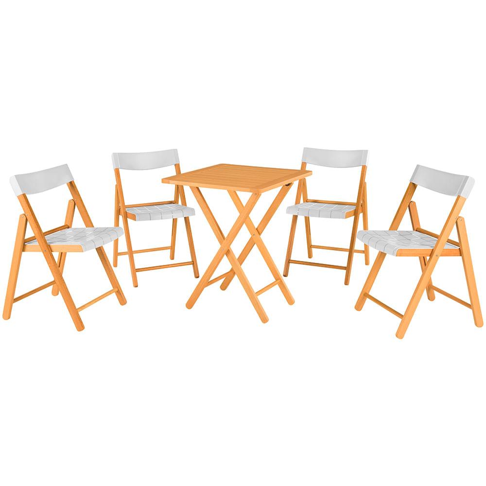 Conjunto de Cadeiras e Mesa Dobrávis de Madeira e Assento de Polipropileno Branco 10630031 Tramontina