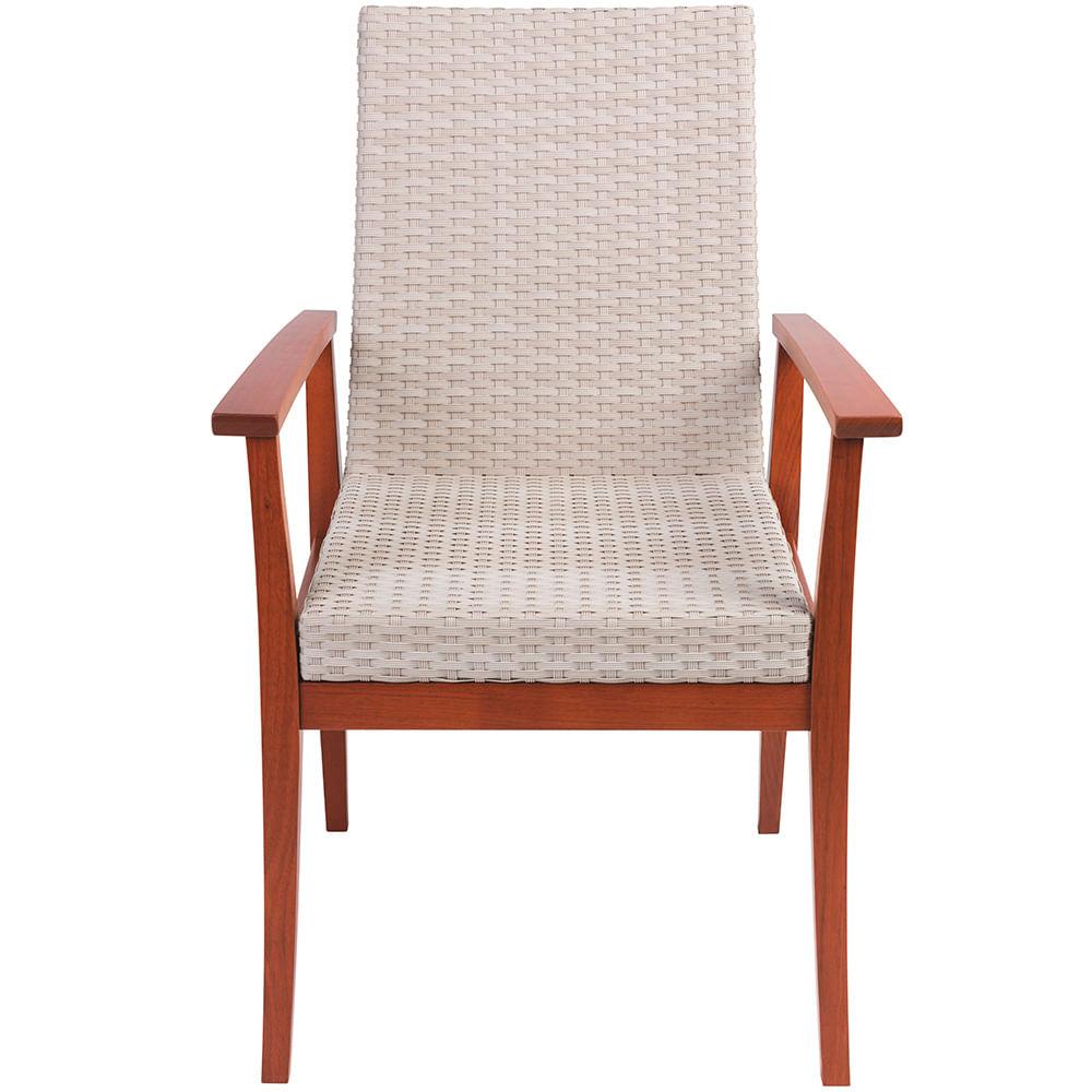 Cadeira De Madeira Com Estofado Bege De Fibra Sintética De Polietileno Tramontina